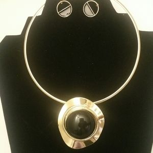 Gold and Black Goddess Necklace Earrings Set